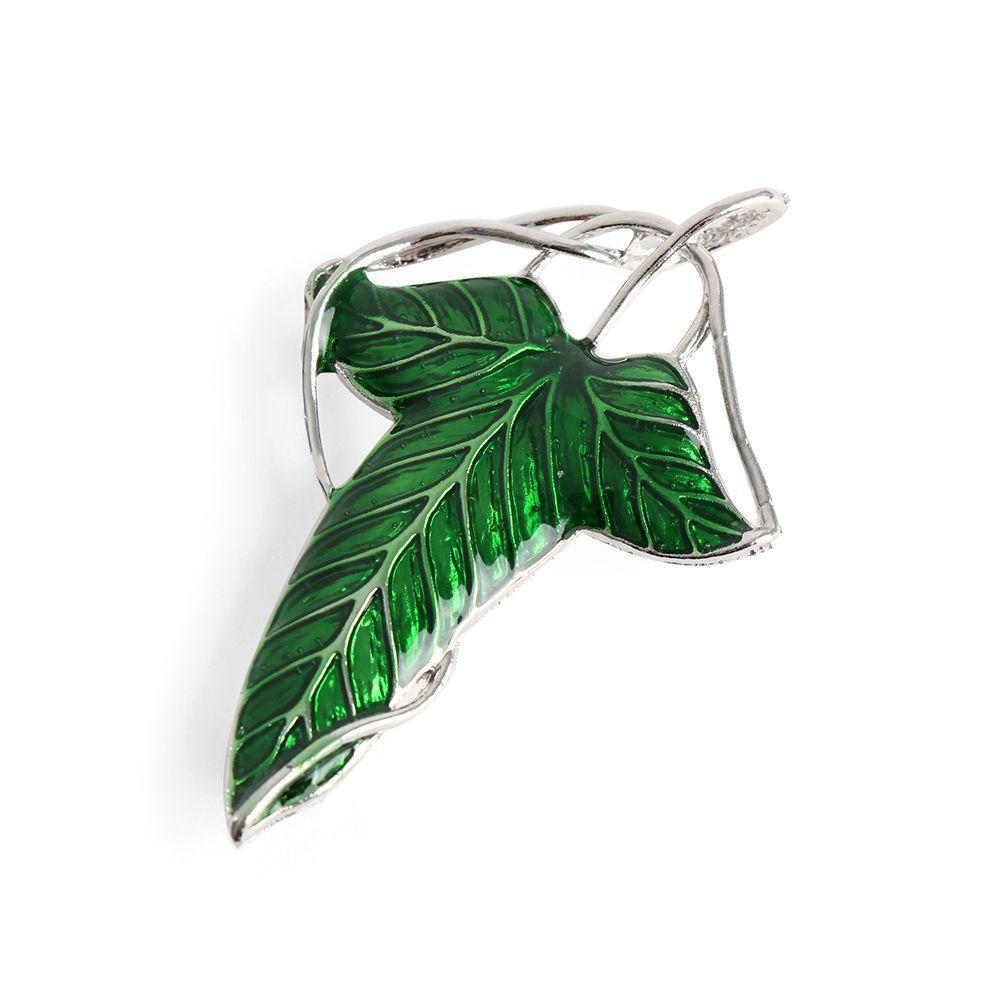 Oppohere dupla utilização verde elven folha pino pingente broche moda bonito do vintage elf folha verde colar pingente broche