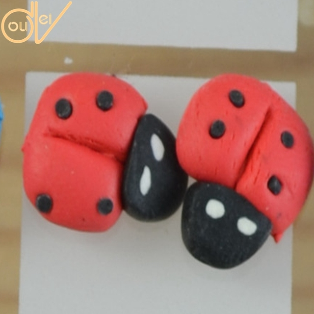 Fashion Jewelry Brincos Wholesale lot 24 Pairs Environmental Silicone Pin Resin Bead Cute Ladybug Stud Earring E427