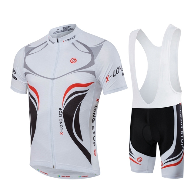 681690f5f HOT Men MTB Cycling Clothing Summer bike Jersey Bib ShortsWhite Male  Outdoor Sports Pro team ropa