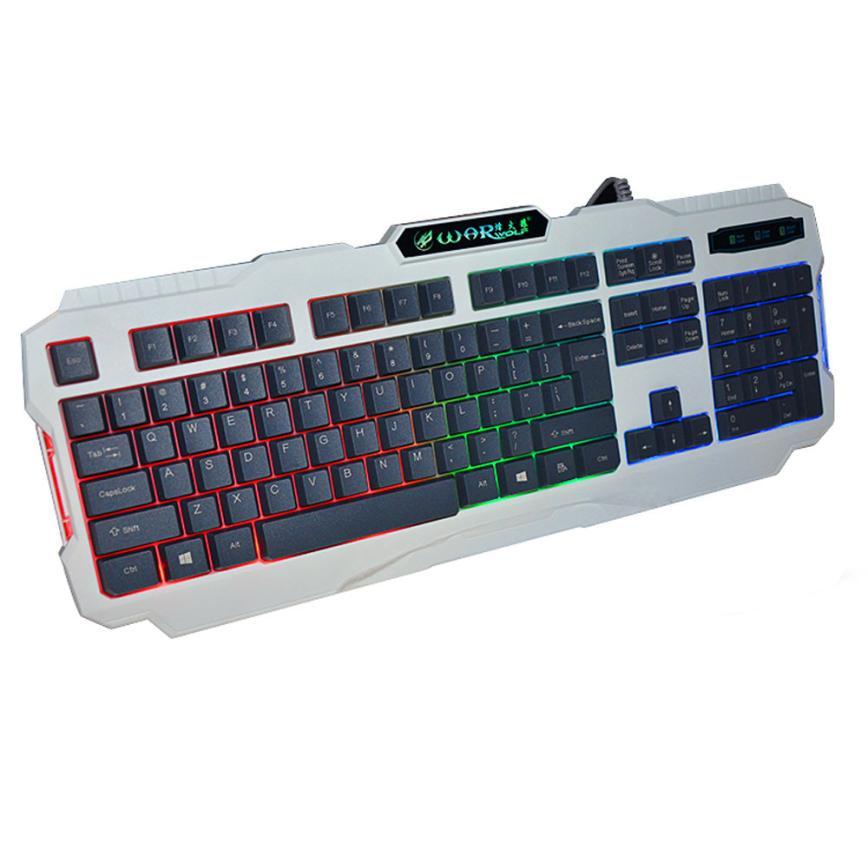 Good Sale K2 USB Wired Illuminated Colorful LED Backlight Multimedia PC Gaming Keyboard Sep 29