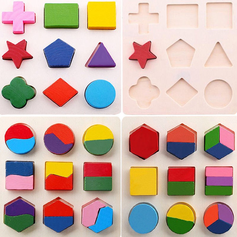 Wood Geometry Puzzle Decomposition Plate Kids Baby Wooden Geometry Puzzle Early Learning Educational Toy wooden geometric puzzle board baby kids early educational jigsaw puzzle toy high quality models