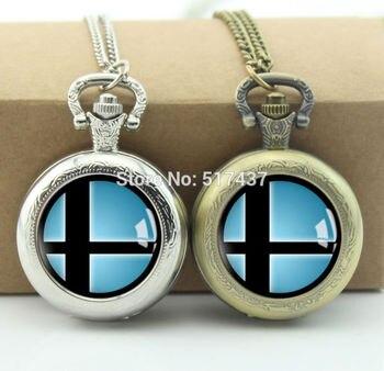 Super Smash Bros Smash Ball reloj de bolsillo de cristal medallón collar de bolsillo Vintage reloj collar