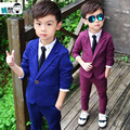Осень синий фиолетовый 2015 официально костюм Блейзер брюки набор мальчиков одежда мода размер 3 ~ 7Y ребенок одежда устанавливает 2 шт.