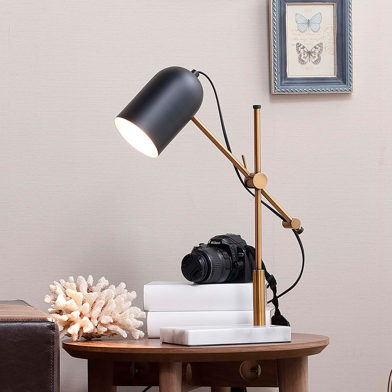 Modern Brief Adjustable Metal Bedroom Table Lamp Fashion White Marble Table Lamp Light Living Room Wedding Study Working Lights new modern fashion white 40cm feather iron e27 table lamp lighting fixture bedroom study wedding house table lights zl349