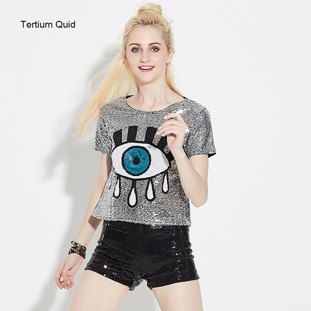 2018 Summer High Quality Woman Sequined Tops Shiny Big Eyes Girls Dancing T Shirt Short Crop Top Club Wear