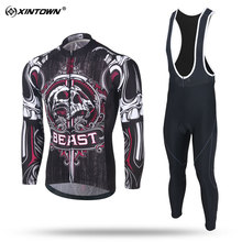 XINTOWN Men Long Sleeve Cycling Jersey Set MTB Bike Clothing A Bicycle Jersey Clothes Maillot Ropa Ciclismo