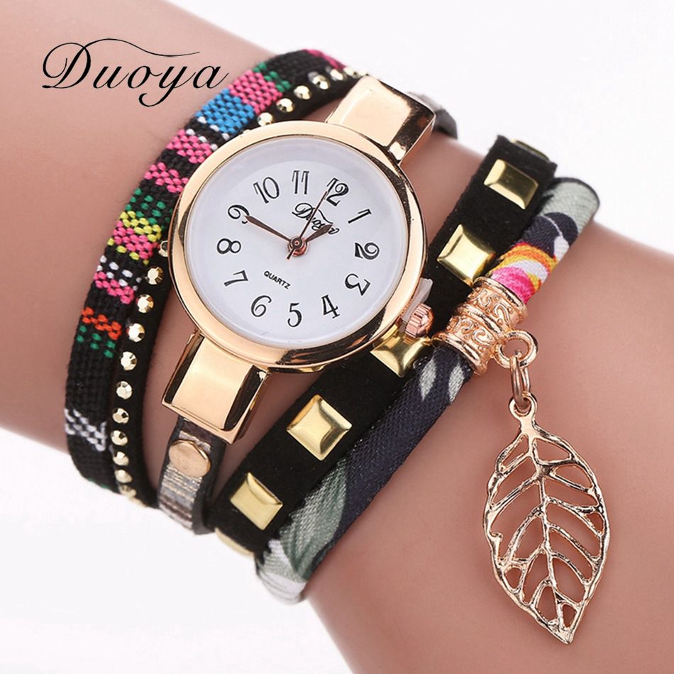 Women Fashion Casual Bracelet Watch Leaf Pendant Fabric Wristwatch Female Watches Classic Luxury Ladies Gold Quartz Watch DY066 стоимость
