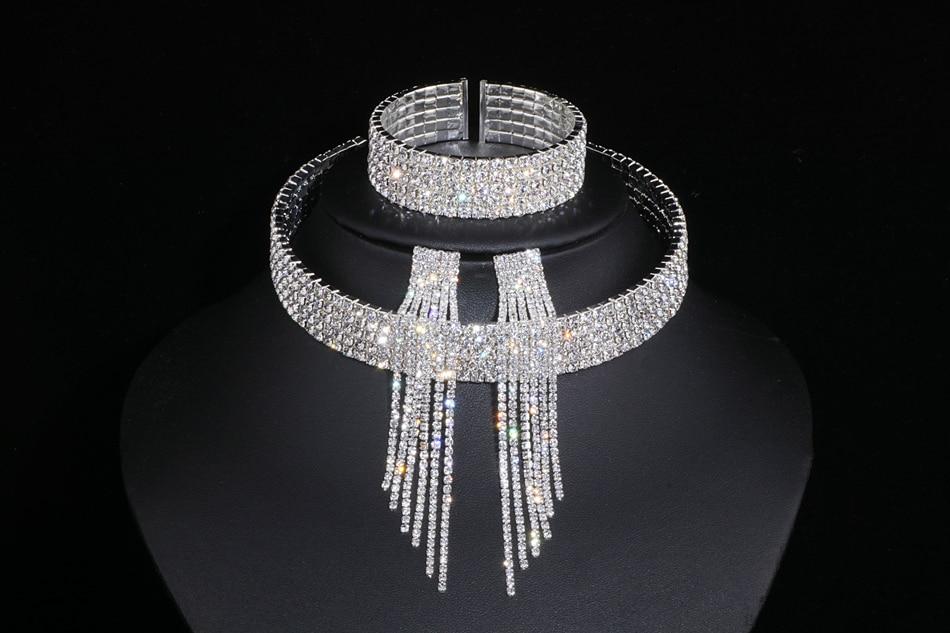 IMG_4790 - Classique, élégant Gland Cristal, Collier De Mariage, Boucles D'oreilles,