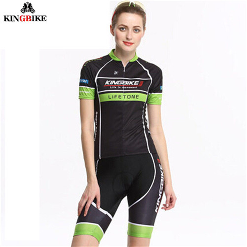 ФОТО KINGBIKE Bicycle Short Jersey Set Popular Design MTB Wicking Clothes Ciclismo Ropa Women Mountain Bike Cycling Short Jersey Set