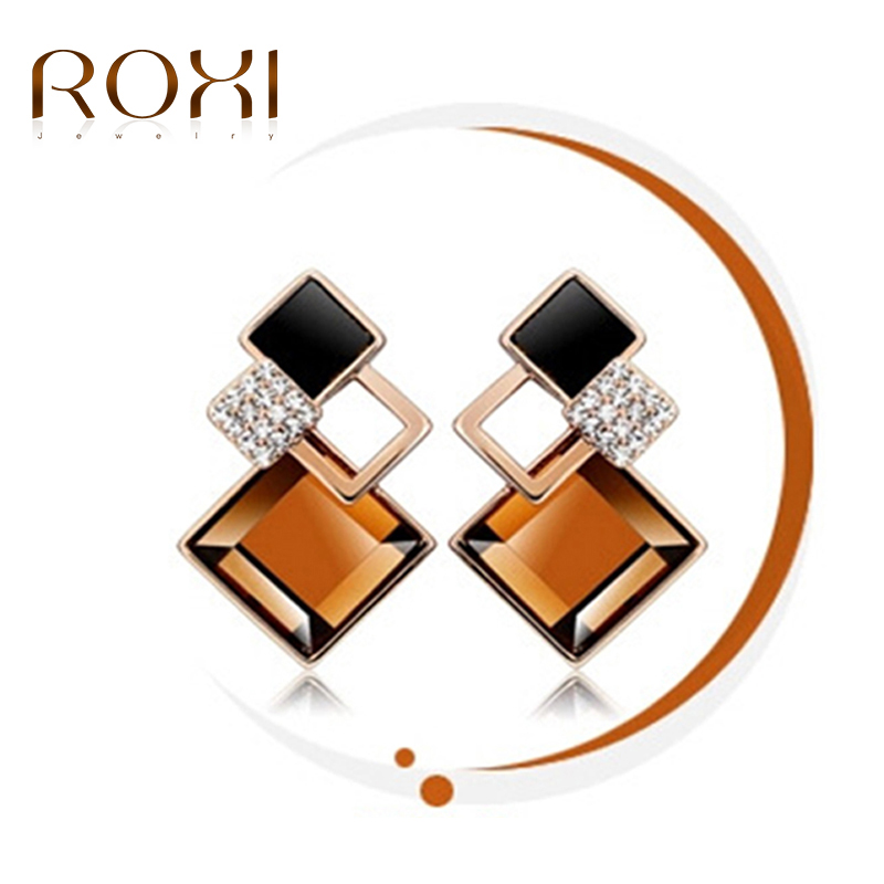 ROXI Women Earrings Romantic Rose Gold Color Champagne Square Design Stud Earrings for Women Wedding ohrringe Fashion Jewelry