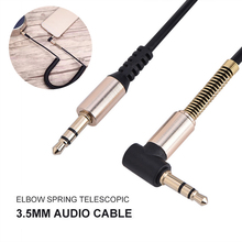 Spring 3 5mm Jack Audio font b Cable b font Male To Male 90 Degree Right