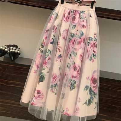 甘い女性プリントローズセット 2019 春夏包帯クロス綿ブラウストップスとロングミディ A ラインスカートスーツ