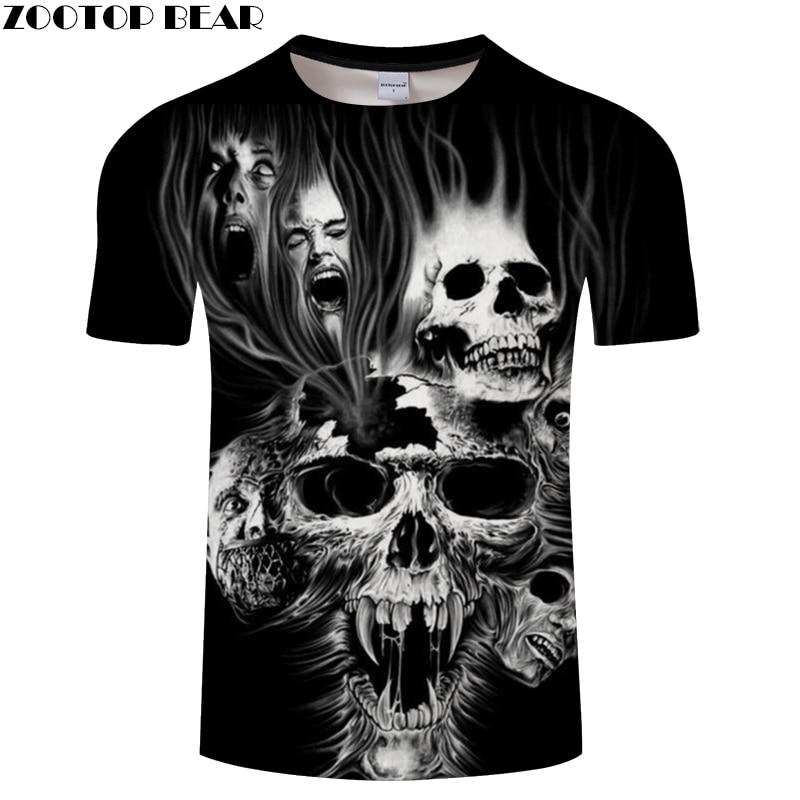 Devil Skull 3D Print t shirt Men Women tshirts Summer Terror Short Sleeve O-neck Tops&Tee Streetwear 2018 Drop Ship ZOOTOP BEAR