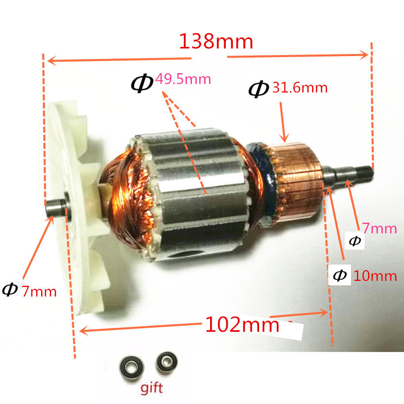 220-240V Rotor Motor Armature Replacement for MAKITA 9404 9920 9903 Belt Sander ac 220 240v armature motor rotor replacement for bosch gbm500re gsb450re psb400re gsb13re gbm400re armature parts engine