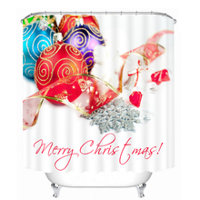 3D Jingling Bell Pattern Shower Curtains Coloured Ribbon Bathroom Curtain Waterproof Thickened Bath Customizable