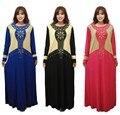 Mujeres de la manera Taladro Caliente Musulmán Vestido Largo Señora Islámica Árabe Kaftan Maxi Ropa Jibab