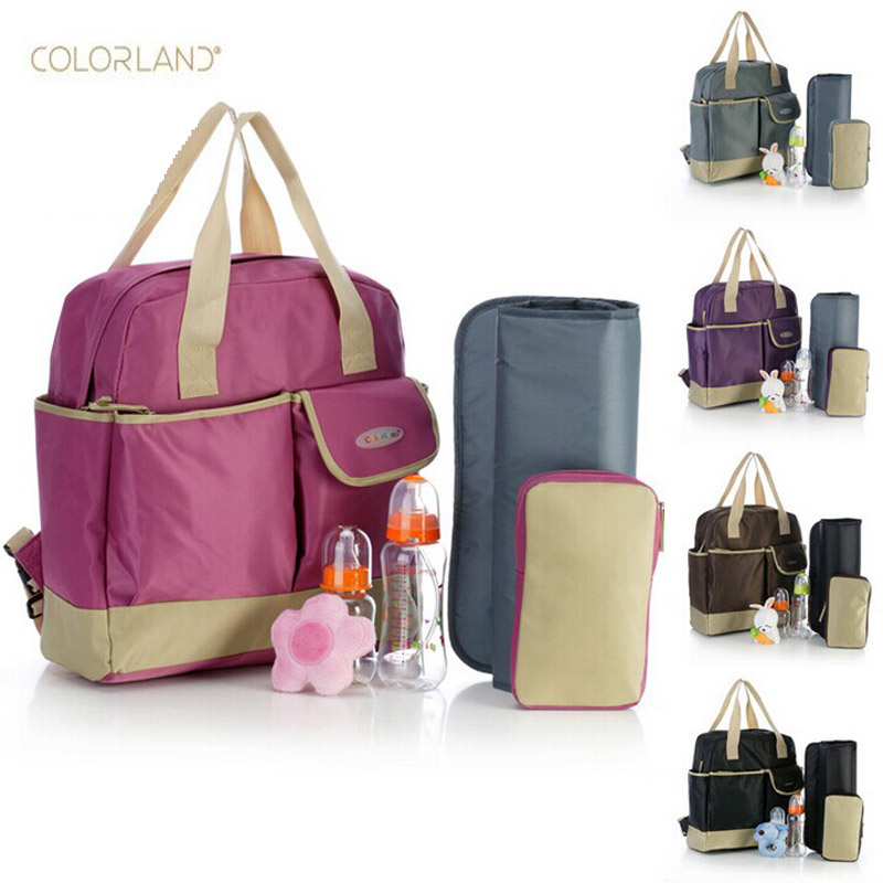 colorland 4 in 1 baby diaper bag nappy bags backpack with changing pad fashion design anti water. Black Bedroom Furniture Sets. Home Design Ideas