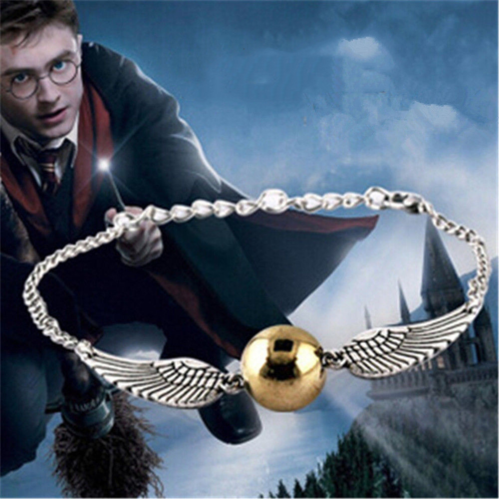 Harri  Unisex Potter Snitch Sliver Gold Bracelet Silver Fly Thief Quidditch Pendant Gift Jewelry Gift Costume Cosplay Prop