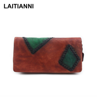 Women Wallets Genuine Leather Patch Ladies Purses Cowhide Latest Letter Colorful Card Holder Bags Handmade Retro