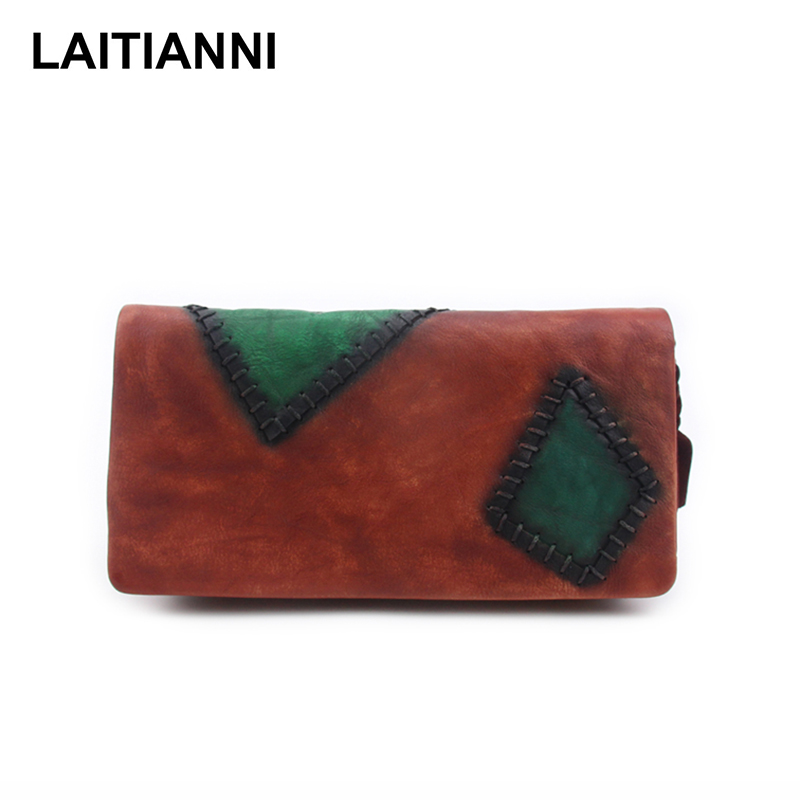 Women Wallets Genuine Leather Patch Ladies Purses Cowhide Latest Letter Colorful Card Holder Bags Handmade Retro Female Wallets