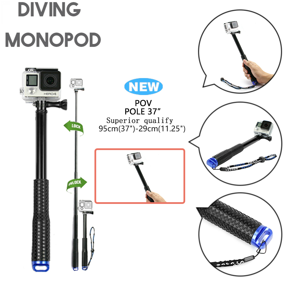 Go pro Handheld Selfie Sticks Monopod para GoPro HERO 5 4 3 sjcam sj4000 sj5000x sj9000 xiao mi yi 4 K accesorios de la cámara