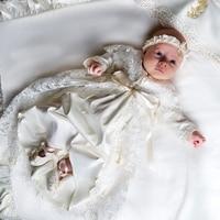 Платье с шапочкой на крестины для маленьких девочек, кружевное платье трапециевидной формы с длинными рукавами для дня рождения, крещения,