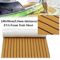 Light Brown And Black Self Adhesive EVA Foam Teak Sheet Boat Yacht Synthetic Decking 0 6cm