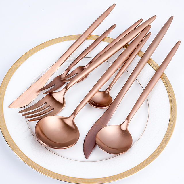 new rose gold cutlery set wedding dinnerware set dinner forks knives scoops set 18 10 stainless. Black Bedroom Furniture Sets. Home Design Ideas