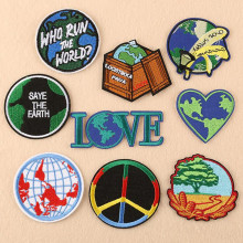 The Earth Map Love Parches Ropa Patch Embroidered Patches For Clothing Iron On Close Shoes Bags Badges Embroidery