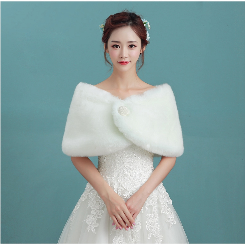 New fashion bride jacket white fur wedding coat bolero da sposa