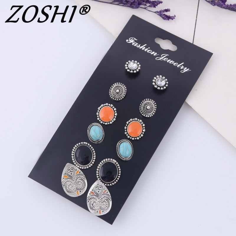 New Style Rhinestone Stud Earring Set For Women Hot-selling Cute Flower Mixed Imitation Pearl Earring Sets 6 Pairs Ear Jewelry