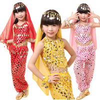 New Style Girls Kids Belly Dance Costume Sparkly Circle Sequin Coins Child Bellydance Top&Pants&Veil&Bracelet Set