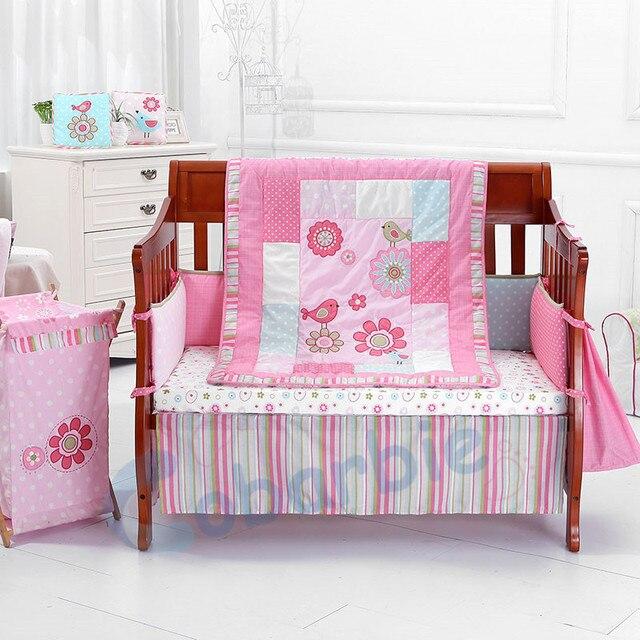 Baby crib bedding set, 4 pcs baby bedding set, cotton bedding, baby girl bedding, pureborn baby,quilt, sheet, bumper