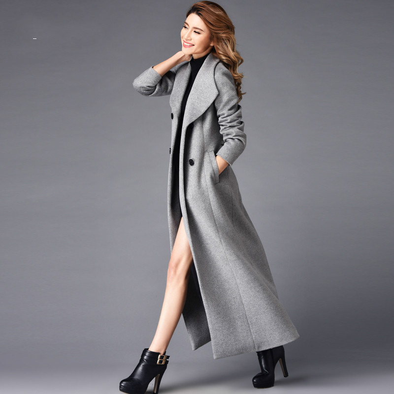d3be7f72f US $102.95 12% OFF|2019 Large Lapel Long Wool Coats Women's Elegant Autumn  and Winter Grey Woolen Trench Coat Slim Double Breasted Woolen Overcoat-in  ...