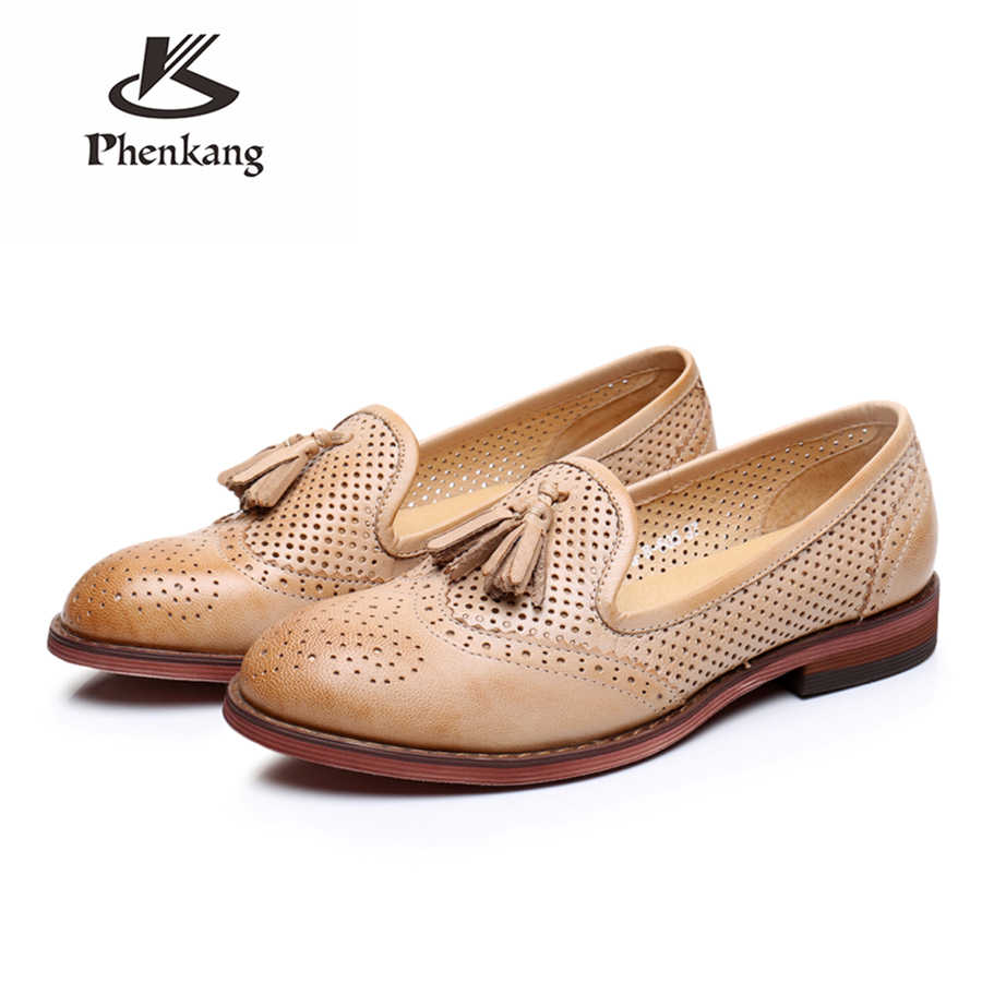 100% Echte schapenvacht lederen brogues designer yinzo dame vintage flats schoenen handgemaakte oxford schoenen voor vrouwen blauw beige groen