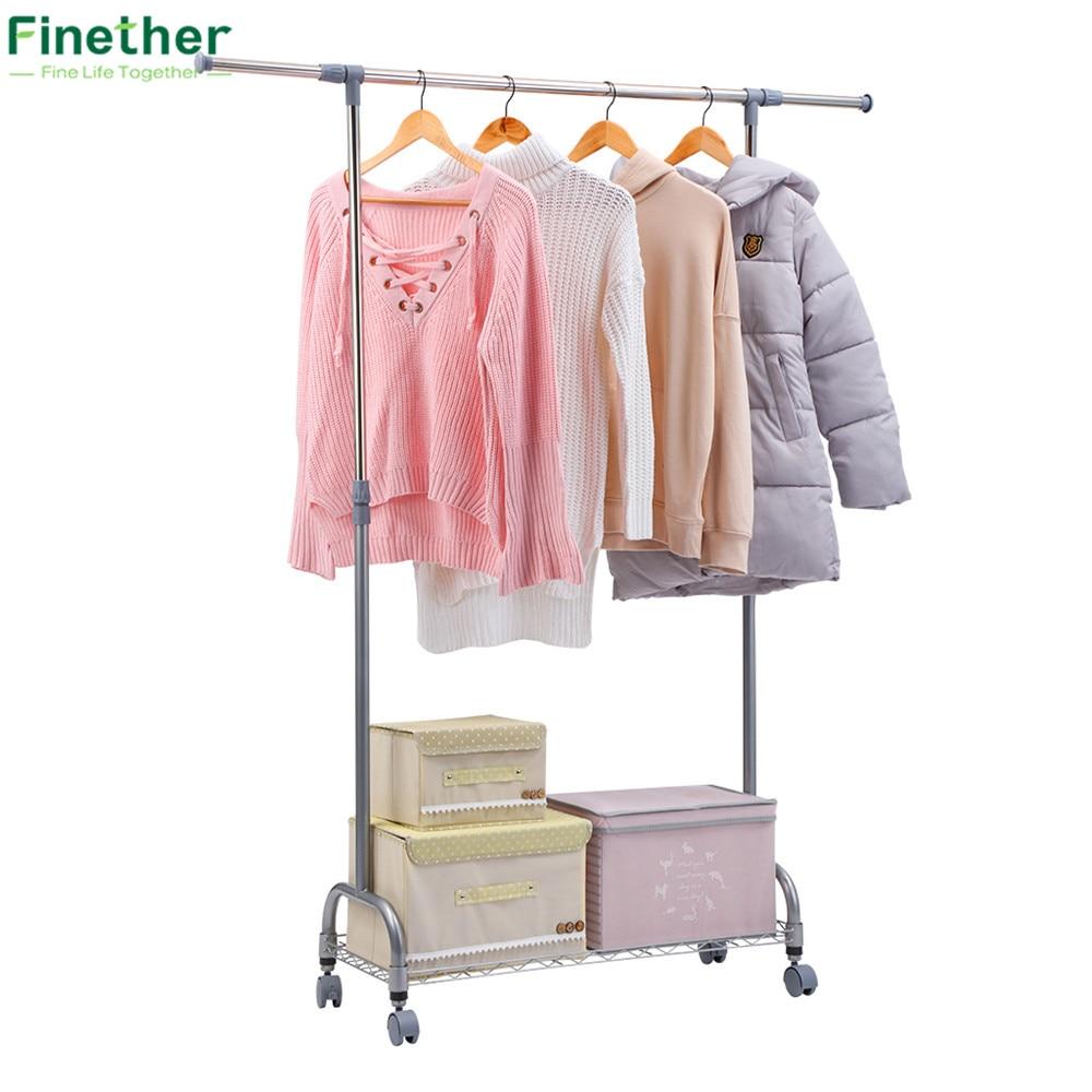Finether Adjustable Rolling Garment Rack Clothes Storage Organization Drying Hanging Portable Wardrobe Bottom Organizer In Holders Racks