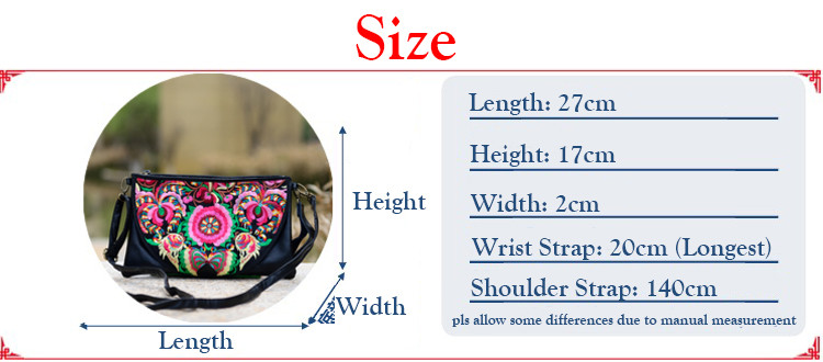 embroidery bag Floral PU Leather