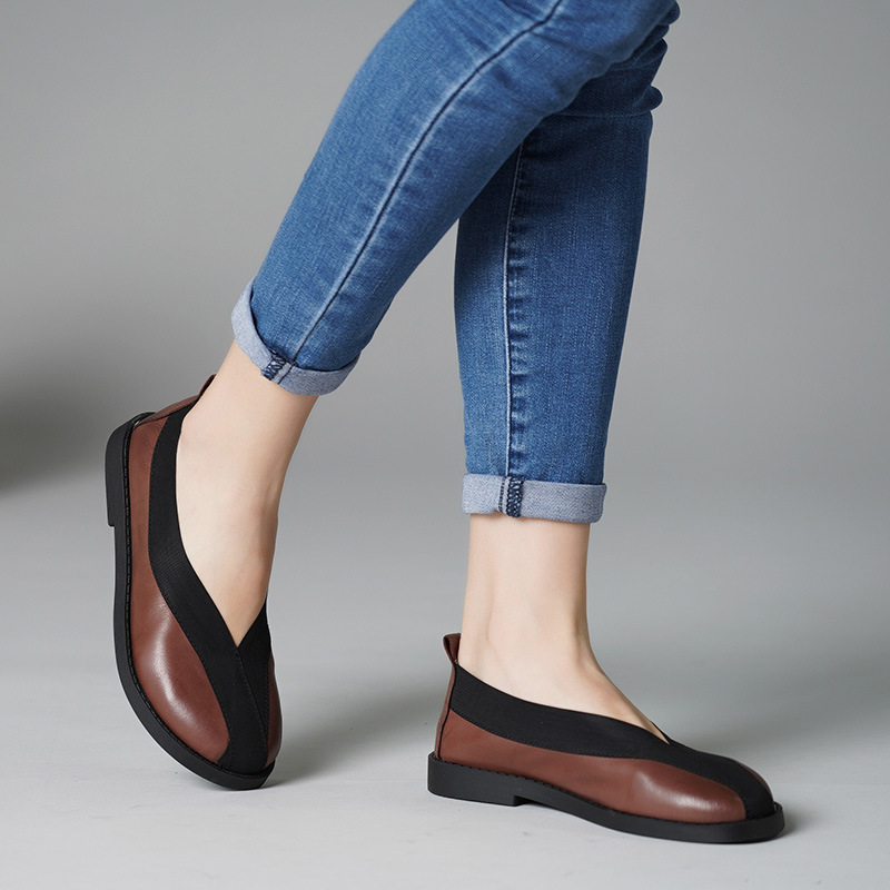 Women Leather Flats Coffee Low Heels Casual Shoes Women Autumn 2019 Lazy Shoes Brand Handmade Genuine Leather Women LoafersWomen Leather Flats Coffee Low Heels Casual Shoes Women Autumn 2019 Lazy Shoes Brand Handmade Genuine Leather Women Loafers
