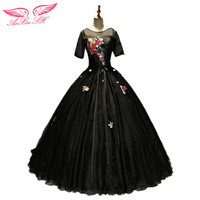 AnXin SH Flower Princess Black Evening Dress New Slim Fluffy Dinner Perform Solo Art Black Lace