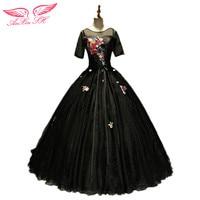 AnXin SH Flower Princess Black Evening Dress New Slim Fluffy Dinner Perform Solo Art Black Lace