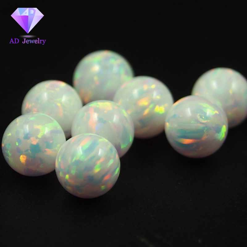 LAB CREATED OPAL ROUND BEADS WHITE VARIOUS SIZES LOOSE FULL DRILL WHOLESALE