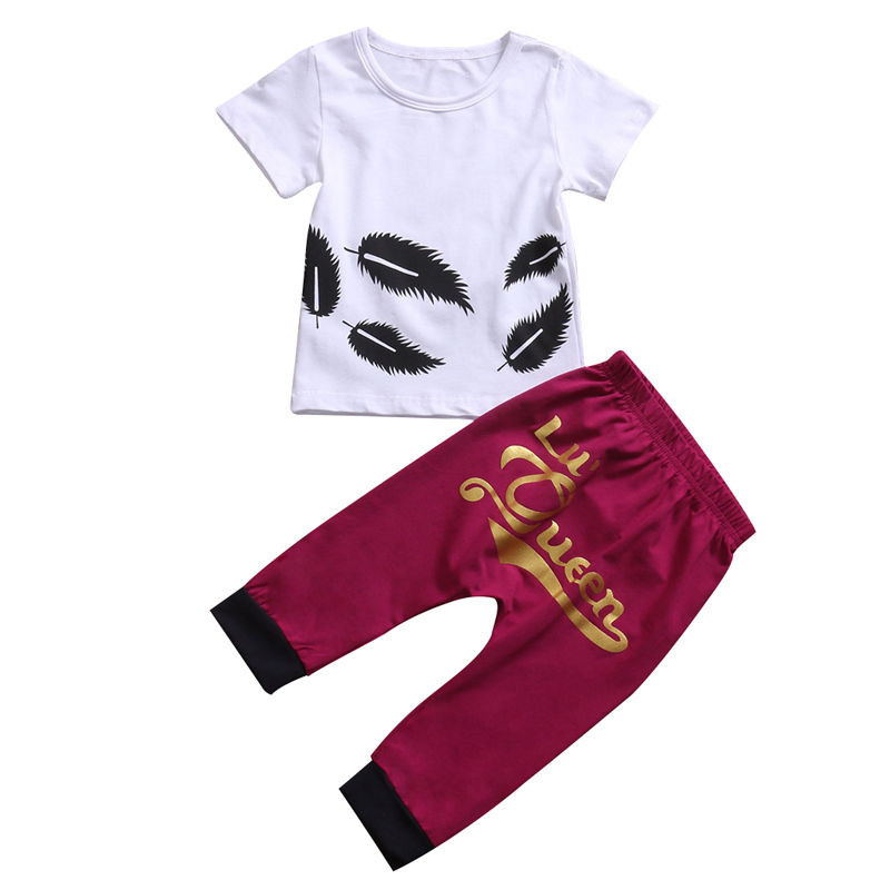 New Style Baby Girl Clothes Kid Queen Summer Casual T-shirt Short Sleeve Tops+Harem Pants Outfit Baby Clothing Set