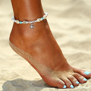 Beach-Anklets Jewelry Bohemian-Shell Blue Stone Women Summer Fashion