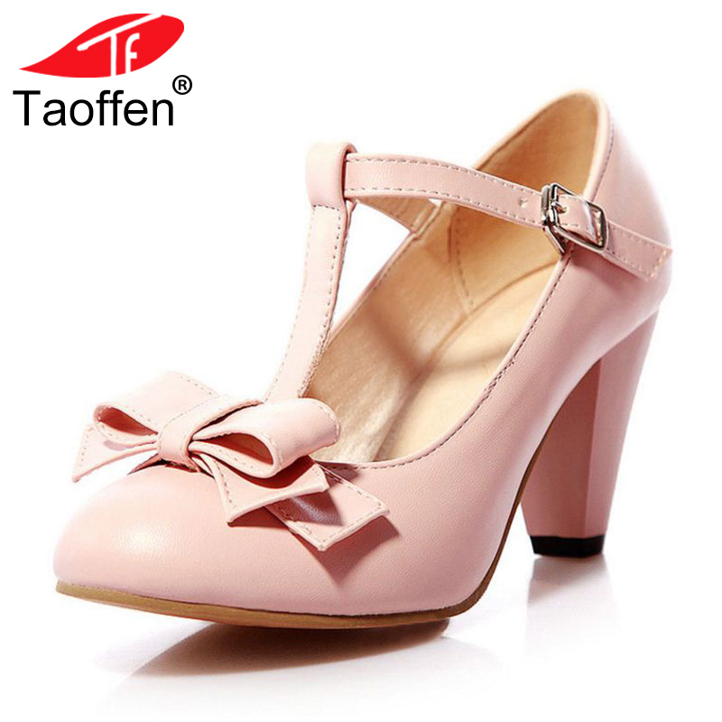 TAOFFEN 4 Colors Size 31-43 Sexy Women Bowknot High Heel Shoes Women Bowtie T Strap Thick Heels Pumps Party Club Women Footwear цена