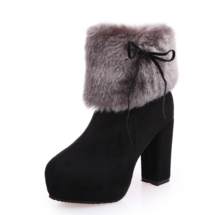 2016 Winter New Women High-heeled Boots Fashion Casual Fur Boots with Warm Female Coarse Female Boots Non-slip Female Shoes