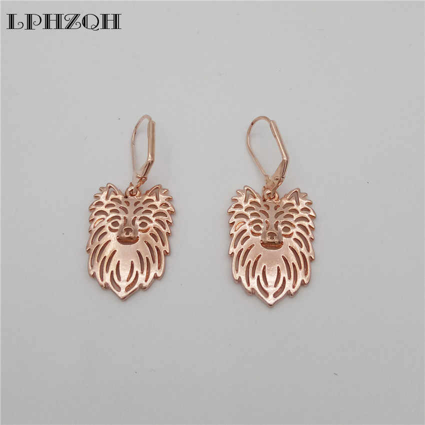 LPHZQH wholesale  alloy pretty cute Long Haired Chihuahua Earings For Women girl lovers jewelry unique Christmas birthday gift