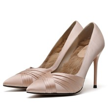 2019 Handmade Black Lady Pumps Luxury Silk Red Super High Thin Heels Shoes Elegant Pointed Toe Office E0038