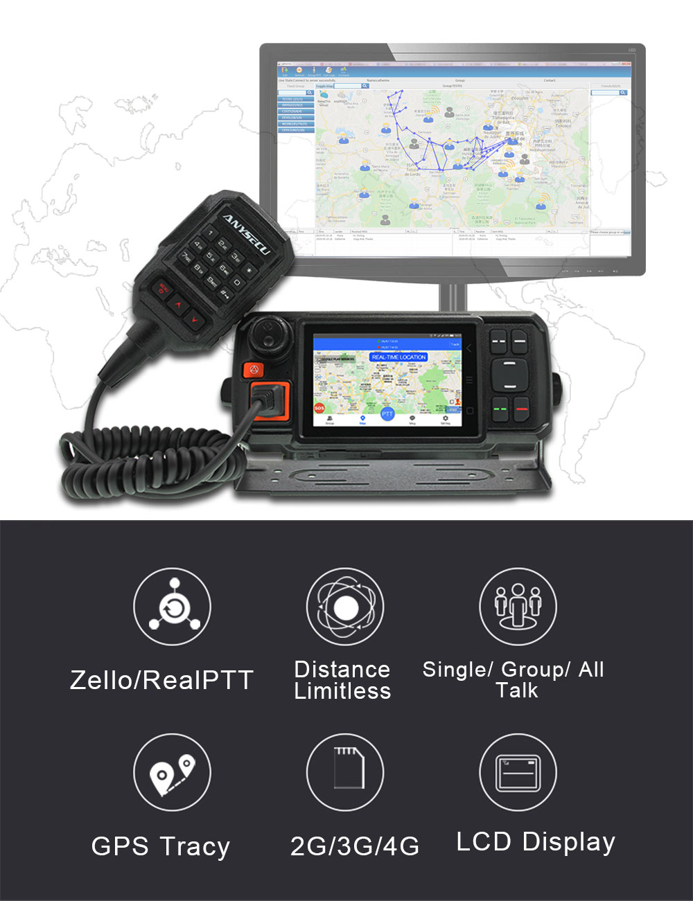 Anysecu 4G Android Network Transceiver GPS Walkie Talkie 4G-W2Plus POC mobile Radio Anysecu N60plus Android Car Radio