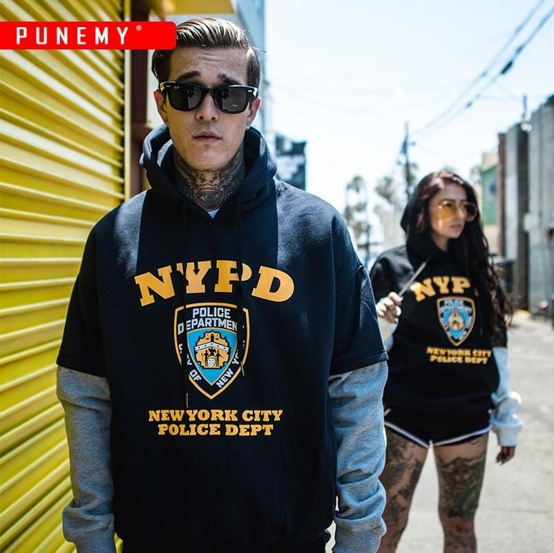 NYPD Funny Print Mens Hoodies Patchwork Hooded Tops Hip Hop Streetwear Sweatshirts Swag Track Fleece Trendy Couple Male Hoodies