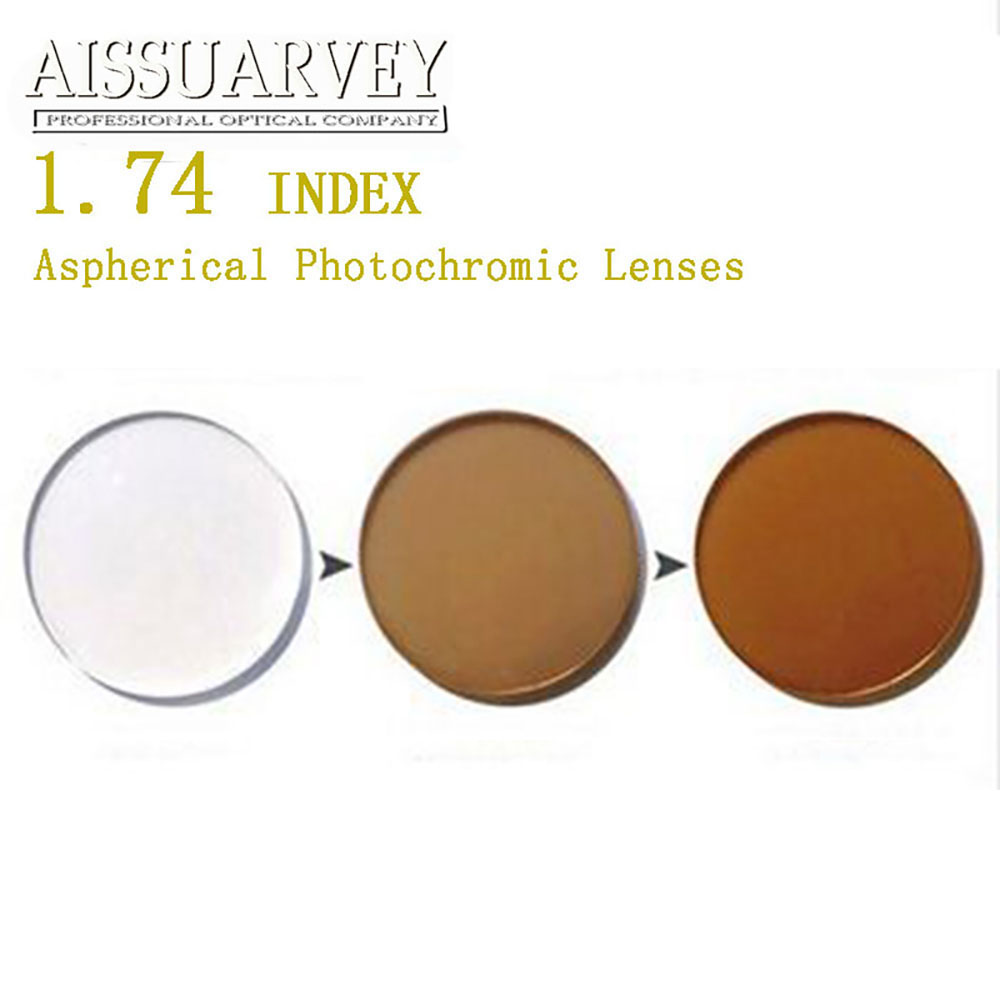1 74 Index Aspherical Photochromic Lenses Cr 39 Anti glare Brown Grade A Top Quality Prescription